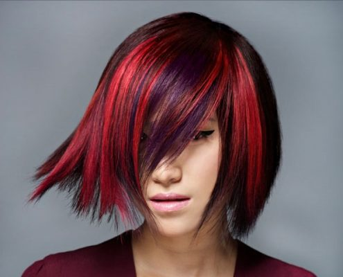 red violet highlights in black hair